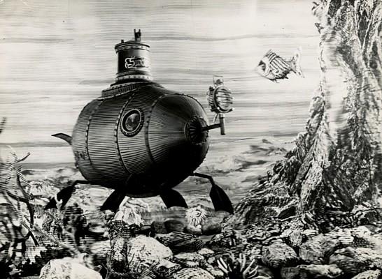 """Szenenfoto aus dem Film """"Die Erfindung des Verderbens"""" (CSSR 1958) von Karel Zeman; U-Boot"""