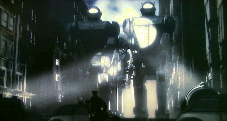 "Szenenfoto aus dem Film ""Sky Captain and the World of Tomorrow"" (USA 2004) von Kerry Conran; Mechanical Monsters"