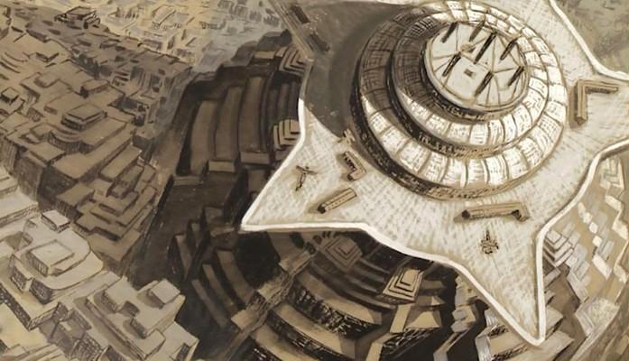 Eine Produktionszeichnung von Erich Kettelhut zu Metropolis (1927) – Der Neue Turm zu Babel