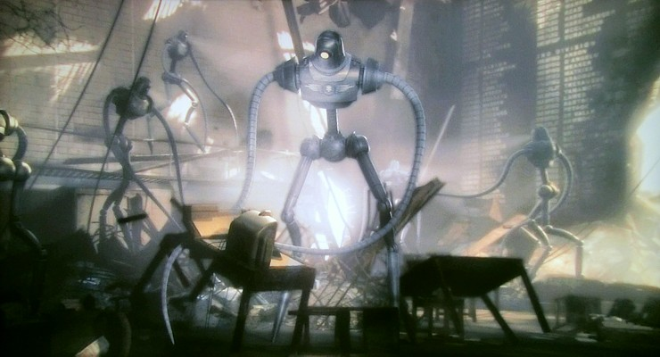 "Szenenfoto aus dem Film ""Sky Captain and the World of Tomorrow"" (USA 2004) von Kerry Conran; Roboter"