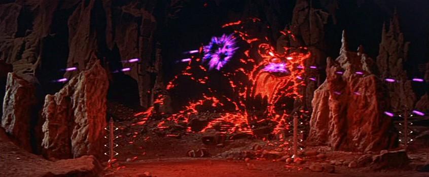 """Szenenfoto aus dem Film """"Alarm im Weltall"""" (Forbidden Planet, USA 1956) von Fred McLeod Wilcox; das Monster aus dem Id"""