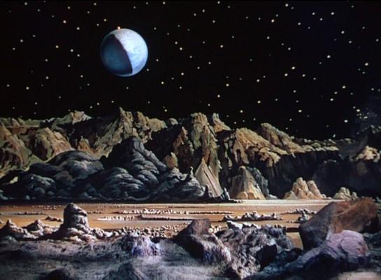 """Mondlandschaft von Chesley Bonestell aus """"Rakete Mond startet"""" (Destination Moon, USA 1950)"""