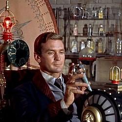 """Szenenfoto aus dem Film """"Die Zeitmaschine"""" (The Time Machine, USA 1960) von George Pal; Rod Taylor"""