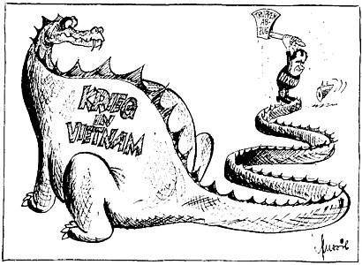 Karikatur von 1972: Präsident Nixon und der Truppenabzug im Krieg in Vietnam
