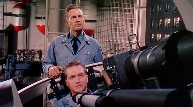"""Szenenfoto aus dem Film """"Die Eroberung des Weltraums"""" (Conquest of Space, USA 1955) von George Pal und Byron Haskin; Walter Brooke und Eric Fleming"""
