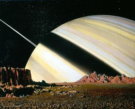 Saturn über Mimas; Malerei von Chesley Bonestell