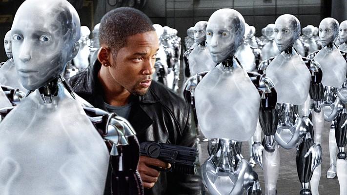 I, Robot (USA 2004), Publicity-Bild mit Will Smith, Sonny und den Robots