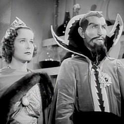 "Szenenfoto aus dem Kinoserial ""Flash Gordon's Trip to Mars"" (USA 1938); Beatrice Roberts und Charles Middleton"