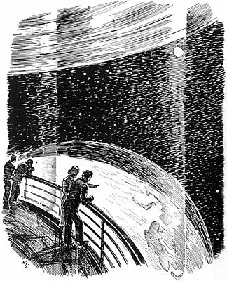 """Blick aus der Raumstation; aus Kurd Laßwitz, """"Auf zwei Planeten"""" (1897), Illustration von Walter Zeeden"""
