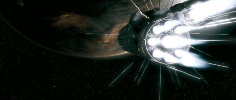 Cargo (2009) Szenenfoto vom Raumschiff Kassandra im Anflug auf Rhea
