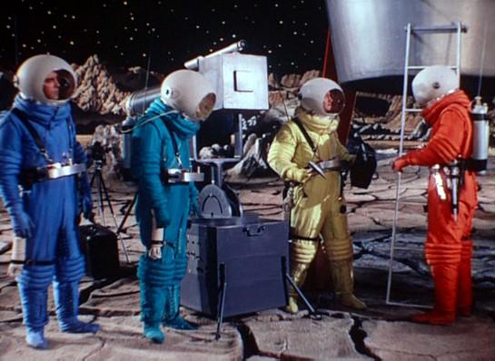 """Quietschbunte Raumanzüge in dem Spielfilm """"Endstation Mond"""" (Destination Moon, USA 1950)"""
