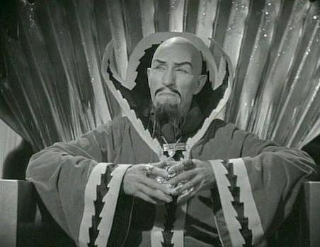 "Szenenfoto aus dem Kinoserial ""Flash Gordon"" (USA 1936); Charles Middleton als Ming the Merciless"