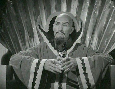 "Szenenfoto aus dem Kinoserial ""Flash Gordon"" (USA 1936); Charles Middleton als Ming the Merciless"