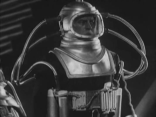 """Szenenfoto aus dem Film """"Kosmitscheski Reis"""" (The Cosmic Voyage, UdSSR 1936) von Wassili Schurawljow; Sergei Komarow"""