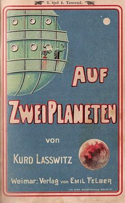 """Umschlagillustration der Lieferungsausgabe des Romans """"Auf zwei Planeten"""" von Kurd Laßwitz von 1898"""