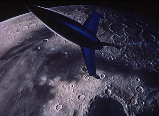"""Die Luna-Rakete im Landeanflug auf den Mond -- Szene aus """"Endstation Mond"""" (Destination Moon, USA 1950)"""