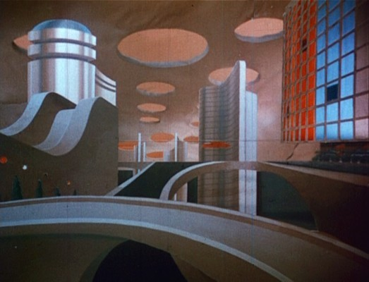 Flight to Mars (USA 1951) Szenenfoto vom matte painting der unterirdischen Marsstadt