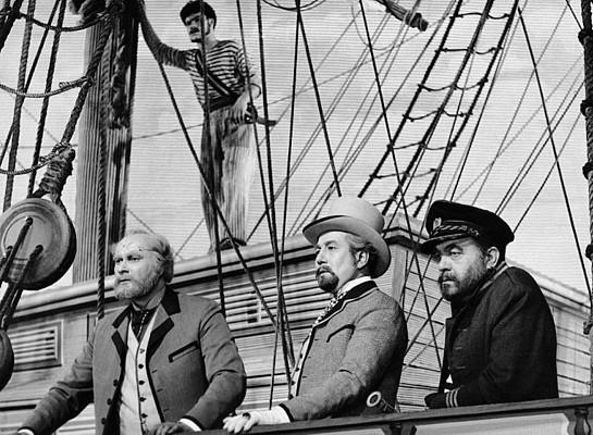 """Szenenfoto aus dem Film """"Die Erfindung des Verderbens"""" (CSSR 1958) von Karel Zeman; Arnost Navratil, Miloslav Holub und Frantisek Slegr"""
