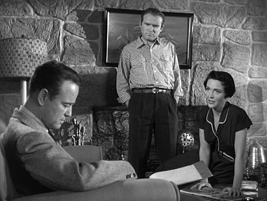 "Szenenfoto aus dem Film ""Donovans Hirn"" (Donovan's Brain, USA 1953); Lew Ayres, Gene Evans, Nancy Reagan"