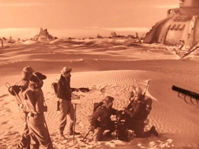 Rakete Mond startet (Rocketship X-M) Szenenbild mit der Crew vor den Marsruinen