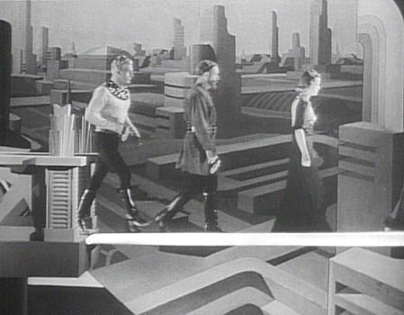 """Szenenfoto aus dem Kinoserial """"Flash Gordon's Trip to Mars"""" (USA 1938); die Lichtbrücke"""