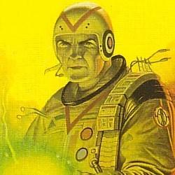 """Ausschnitt vom Buchcover des Romans """"Sternenkrieger"""" (Starship Troopers, 1959) von Robert A. Heinlein, in der Ausgabe vom Bastei-Lübbe-Verlag 1984"""