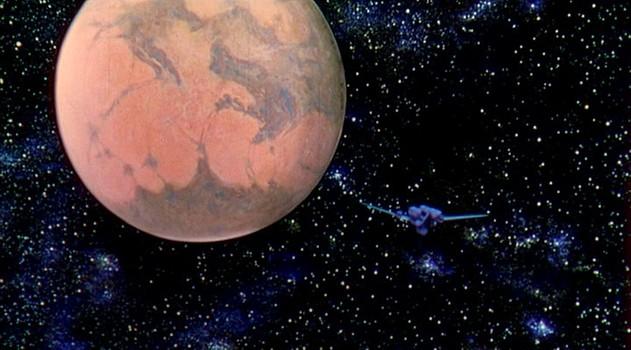 """Szenenfoto aus dem Film """"Die Eroberung des Weltraums"""" (Conquest of Space, USA 1955) von George Pal und Byron Haskin; der Mars"""