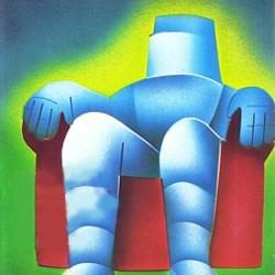 """Ausschnitt aus dem Buchcover von Dennis Feltham Jones, """"Colossus"""" (1966) vom Goldmann Verlag"""