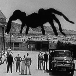 """Szenenfoto aus """"Tarantula"""" (USA 1955) von Jack Arnold mit der riesigen Spinne vor Desert Rock"""