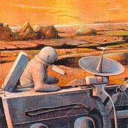"""Ausschnitt vom Buchcover des Romans """"Menschen zwischen den Planeten"""" (1953) von Franz Ludwig Neher, in der Ausgabe des Heyne-Verlags von 1983"""