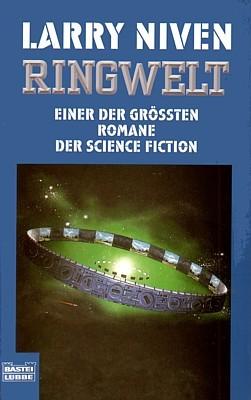 "Buchcover des Romans ""Ringwelt"" (Ringworld, 1970) von Larry Niven in der Ausgabe des Bastei-Lübbe-Verlags 1998"