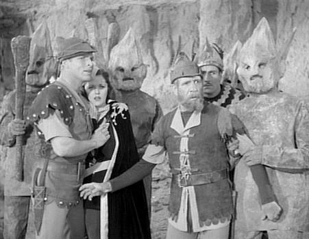 "Szenenfoto aus dem Kinoserial ""Flash Gordon Conquers the Universe"" (USA 1940); die Rock Men"