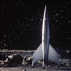 """Die Rakete Luna auf dem Mond in dem Film """"Endstation Mond"""" (Destination Moon, USA 1950) von Irving Pichel und George Pal"""