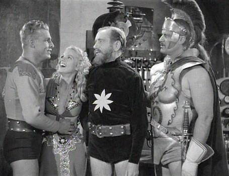 "Szenenfoto aus dem Kinoserial ""Flash Gordon"" (USA 1936); Larry Buster Crabbe, Jean Rogers, Frank Shannon und Richard Alexander"