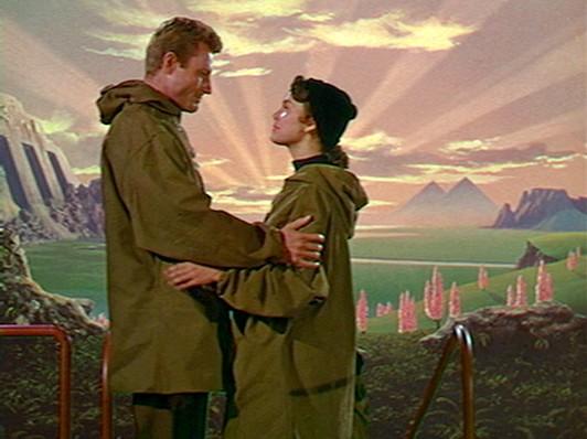 Dave Randall (Richard Derr) und Joyce Hendron (Barbara Rush) auf Zyra in dem Film Der jüngste Tag (When Worlds Collide, USA 1951)