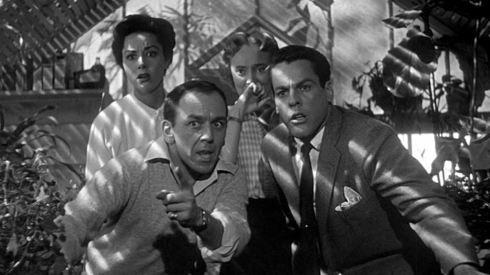 "Szenenfoto aus dem Film ""Die Dämonischen"" (Invasion of the Body Snatchers, USA 1956) von Don Siegel; Dana Wynter, King Donovan, Carolyn Jones, Kevin McCarthy"