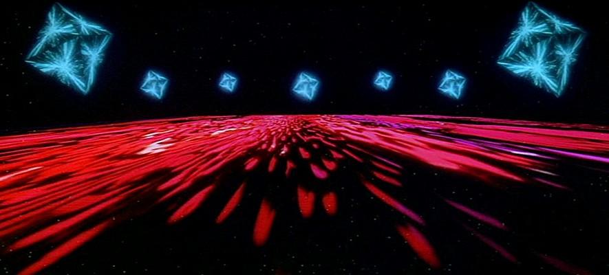 """Szenenfoto aus dem Film """"2001: Odyssee im Weltraum"""" von Stanley Kubrick (2001: A Space Odyssey, GB/USA 1968); die Star Gate Sequenz"""