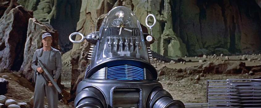 """Szenenfoto aus dem Film """"Alarm im Weltall"""" (Forbidden Planet, USA 1956) von Fred McLeod Wilcox; Robby der Roboter"""