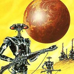 """Ausschnitt vom Buchcover vom Roman """"Projekt: Morgenröte"""" (The Sands of Mars, 1951) von Arthur C. Clarke, in der Ausgabe vom Goldmann Verlag 1983"""
