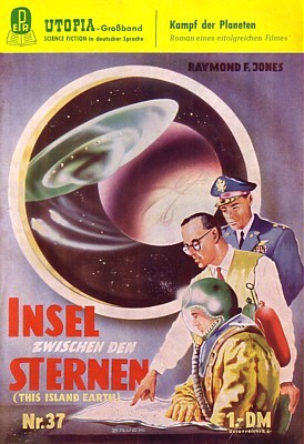 """Cover des Heftromans """"Insel zwischen den Sternen"""" von Raymond F. Jones, Utopia Großband 37 (Mai 1956)"""