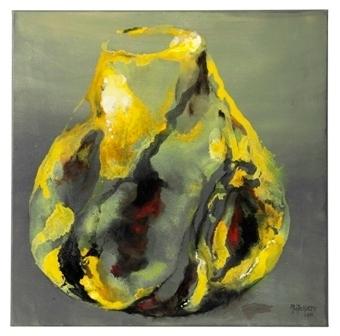 vase vitré vert/jaune n. 2 - 70x70