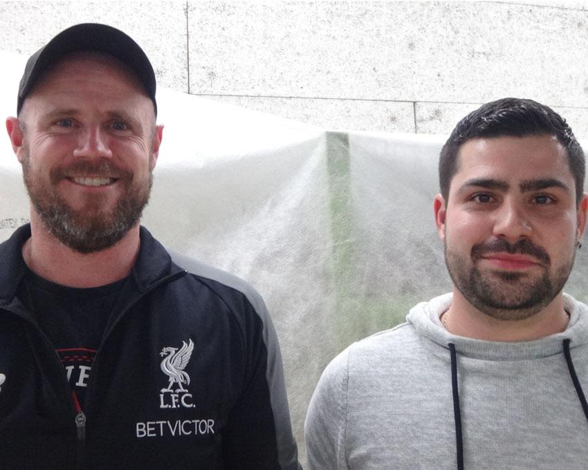 Seit 10 Jahren wichtige Stützen in unserer Mannschaft: Marcel Schilter (l.) und Enzo Carrubba (r.)