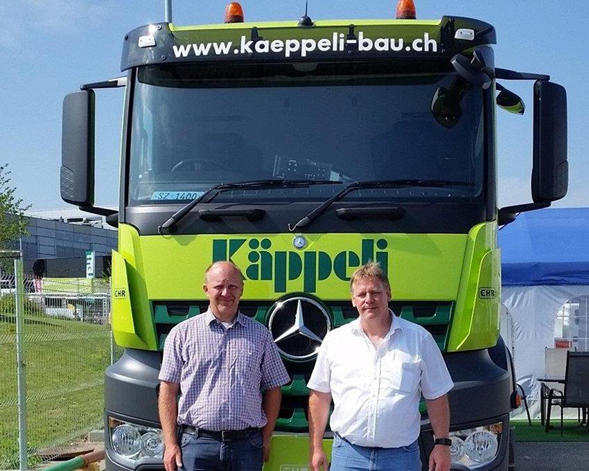 Lukas Käppeli (l.) und Stefan Reize (r.), Mitinhaber des Herstellers MTS, Götzis (A.)