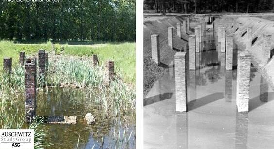 Restos de las piscinas de purificación en el noroeste de Birkenau. La fotografía contemporánea es de Michael Challoner, fundador del AUSCHWITZ Study Group ASG y la fotografía de archivo es cortesía de Yad Vashem.
