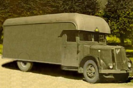 Dibujo basado en una fotografía de la furgoneta de la marca Saurer.