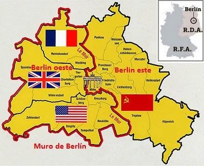 El Muro de 45 km dividía la ciudad de Berlín en dos Berlín Oeste (West-Berlin o Westberlin) y Berlín Este ó Berlín Oriental (Ostberlin).
