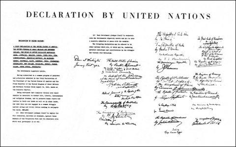 """""""Declaración de las Naciones Unidas"""", 1 de enero de 1942. Foto ONU/Foto histórica"""