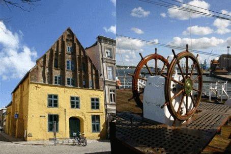 Fotomontage Giebelhaus und Ruderstand Gorch Fock
