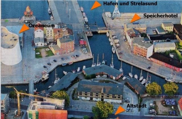 Luftbild mit Markierungen