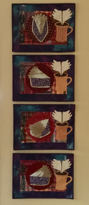 """Wicked Pie and Heavenly Coffee"" series of art quilts by Amy Mundinger"